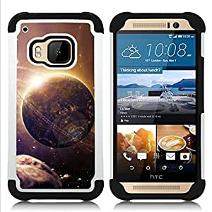 - alien world planet art future asteroid belt space/ H??brido 3in1 Deluxe Impreso duro Soft Alto Impacto caja de la armadura Defender - SHIMIN CAO - For HTC ONE M9