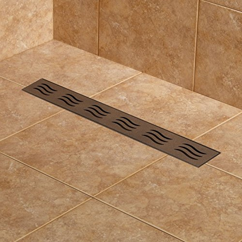 Naiture 24'' Stainless Steel Linear Shower Drain Without Drain Flange In Oil Rubbed Bronze Powder Coat Finish
