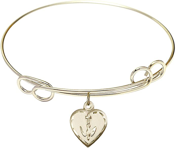 DiamondJewelryNY Double Loop Bangle Bracelet with a Confirmation Charm.