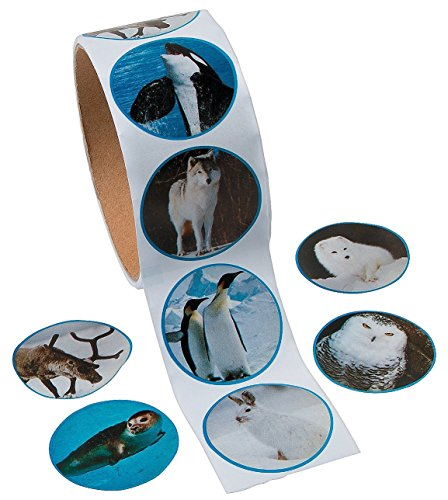 Arctic Animal Photo Roll of Stickers (100 Stickers Per Roll)