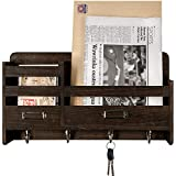 Mkono Mail Sorter Organizer Wood Key Holder Organizer for Wall, Rustic 2-Slot Wall Mail Holder with Tags Frame & 4 Key Hook Rack for Entryroom, mudroom,Hallway, Kitchen, Office,Dark Brown: more info