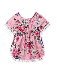 Binwwede Toddler Baby Girls Swim Cover-Up Infant Beach Pompom Poncho Floral Tassel Summer Dress