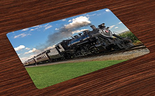 (Ambesonne Steam Engine Place Mats Set of 4, Vintage Locomotive in Countryside Scenery Green Grass Puff Train Picture, Washable Fabric Placemats for Dining Room Kitchen Table Decor, Blue Green Black)