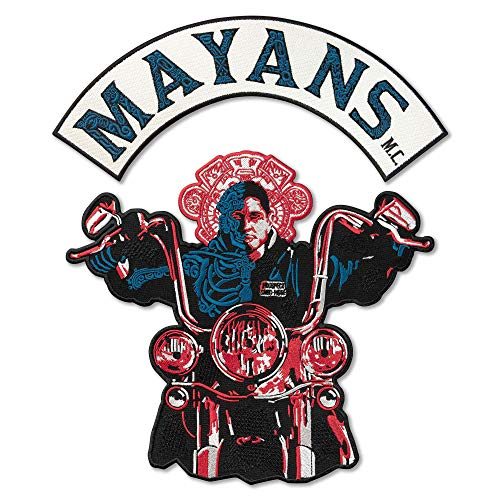 Mayans M.C. Colors Biker Gang Motorcycle Club Emblem Embroidered Back Patch Iron On (11.6