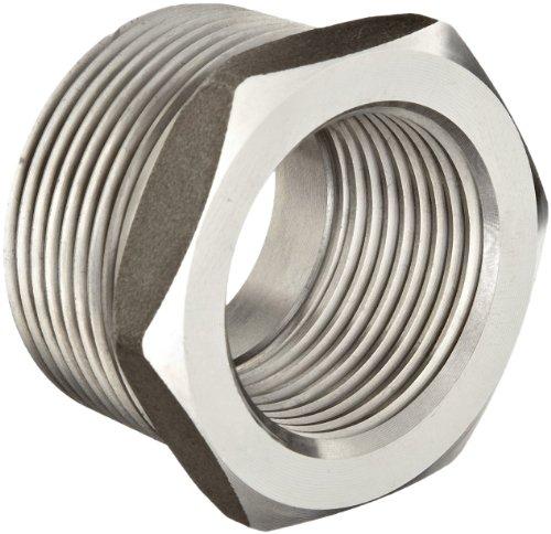 "Stainless Steel 316 Pipe Fitting, Hex Head Bushing, Class 1000, 3/8"" NPT Male X 1/8"" NPT Female"