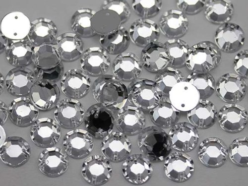 7mm Sew On Rhinestones Crystal Clear H102- 100 Pieces