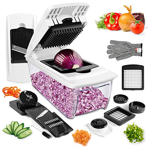 Vegetable Chopper, ONSON Onion Chopper Spiralizer Vegetable Slicer Dicer - Mandoline Slicer WITH LARGE CONTAINER Food Chopper - Veggie Chopper Vegetable Cutter Potato Slicer - Choppers and Dicers (Best Vegetable Chopper Dicer)