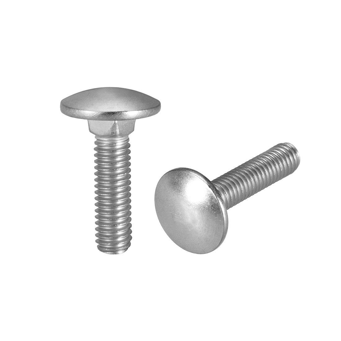 Round Head Neck Bolt Square Neck 304 Stainless Steel M6x20mm 30 Pieces Carriage Bolts
