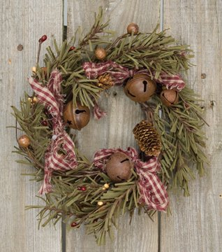 Primitive Christmas Decor - Rustic Holiday Pine Ring Berries Rusty Bells Pinecones Bows Country Primitive Christmas Décor
