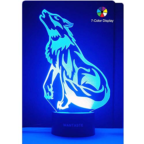 WANTASTE 3D Wolf Lamp, Optical Illusion Night Light for Room Decor & Nursery, Cool Birthday Gifts & 7 Color Changing Toys for Kids, Boys & Men