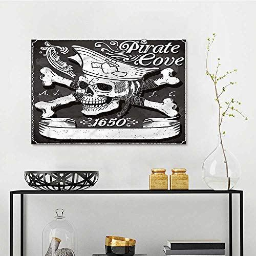 Pirate Modern Decorative Painting Cove Flag Year of 1650 Oil Canvas Painting Wall Art W23 xL31