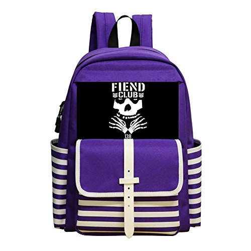 Oiguio Mitfits Fiend Skull Logo School Backpack Bookbag Daypack Shoulder Bag Purple