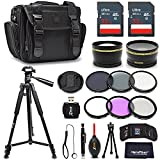 Premium 52mm Accessories Bundle Kit for DSLR Cameras - Includes 64GB Memory Card, 52mm 2x Telephoto Lens, 52mm Wide Angle Lens, Premium Camera Case, 72 inch Tripod, 52mm ND Filters + More