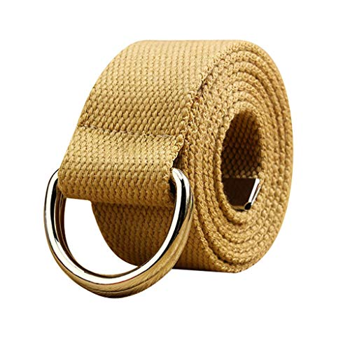 Toimothcn Canvas Web Double D Ring Belt Silver Buckle Military Style for Men & Women (Khaki,140)