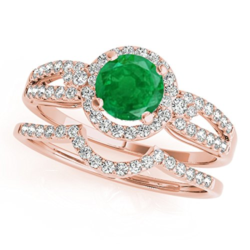 (1.25 Ct. Halo Emerald And Diamond Bridal Set In 14k Rose Gold)