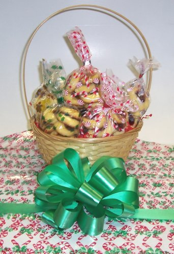 Butter Cookie Lovers Basket with Handle Candy Cane Wrapping ()