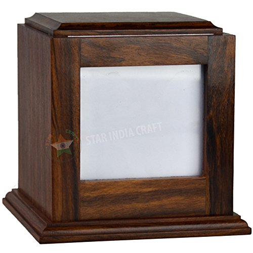 STAR INDIA CRAFT StarIndiaCraft Rosewood Pet Urn Peaceful Pet Memorial Keepsake Urn, Photo Box Cremation Urn for Dogs,Cats, Keepsake Urns for Ashes, Wooden Box Urn (5.5x4.9x4.9-70 Cu/in, Photo Box) ()