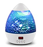 #2: [ Newest Vision ] Star Light Rotating Projector, MOKOQI Night Lighting Star Moon Projection Lamp 4 LED Bulbs 4 Modes with Timer Auto Shut-Off & Hanging Strap for Kids Baby Bedroom Xmas Gift (White)