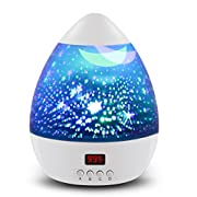 [ Newest Vision ] Star Light Rotating Projector, MOKOQI Night Lighting Star Moon Projection Lamp 4 LED Bulbs 4 Modes with Timer Auto Shut-Off & Hanging Strap for Kids Baby Bedroom Xmas Gift (White)