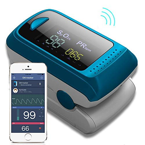 (Bluetooth Fingertip Pulse Oximeter Oximetry Blood Oxygen Saturation Monitor and Pulse Rate Monitor for Apple and Android)