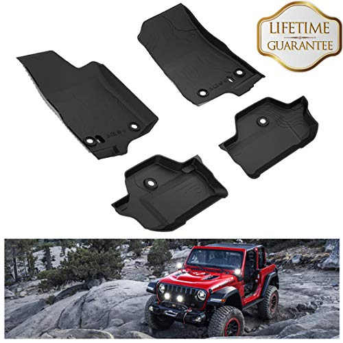 (KIWI MASTER Floor Mats Compatible for Wrangler JL 2018 2019 New Jeep 2-Door OEM Floor Liners TPE Slush Mat Front and Rear Row Black All Weather Protector)