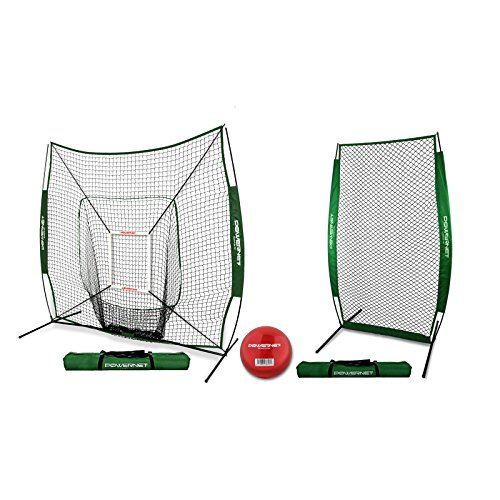 PowerNet 7x7 DLX Net and Portable Pitching I-Screen Bundle (Green) | Softball Pitching Protection | Batting Practice Backstop | Instant Pitcher Barrier from Line Drives Grounders | Front (Pitchers Practice Screen)
