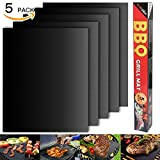 Barbecue mat (Set of 5), Grilldom and Reusable BBQ Grill Mat, Teflon Non-stick 0.2mm, 40x33cm