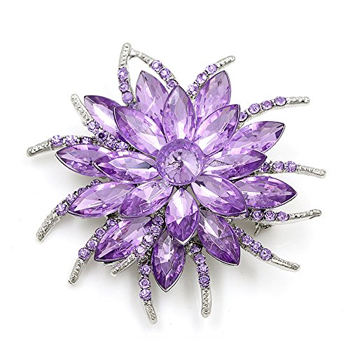 Axmerdal Flower Brooch Pin Fashion Crystal Corsage for Women in Bouquet Bridal Elegant Flower Brooches Pins (Light Purple)