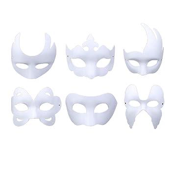 Máscara Blanca, Outgeek 6PCS Máscara Blanca Para Pintar De Disfraces Decoración De Bricolaje Carnaval De