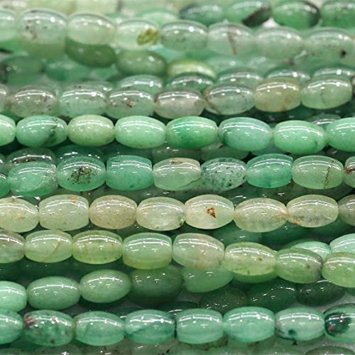 GemAbyss Beads Gemstone 1 Strands Natural Green Aventurine Jade Rice Shape Loose Small Oval Beads 8x10mm 15 Inch Long 03838 Code-MVG-23059 ()