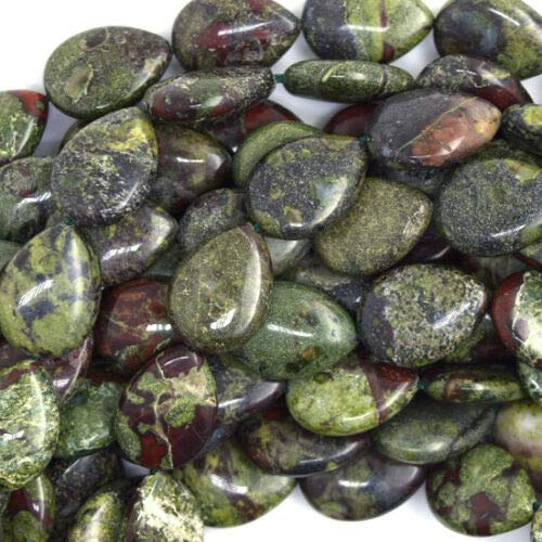 18mm Dragon Blood Jasper Flat Teardrop Beads 16