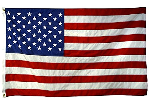 - American Flag 4x6-100% Made In USA using Tough, Long Lasting Nylon Built for Outdoor Use, UV Protected and Featuring Embroidered Stars and Sewn Stripes plus Superior Quadruple Stitching on Fly End