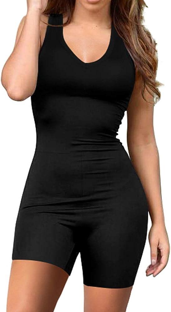 BEAGIMEG Womens Summer Sleeveless Romper Solid Tank Top One Piece Short Jumpsuit