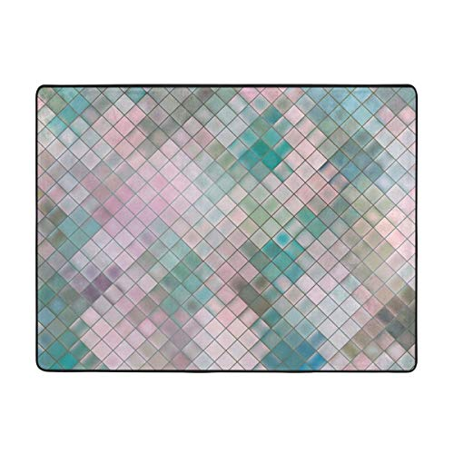 Area Rug Pink Blue Mosaic Memory Foam Super Cozy Ultra Soft Anti-Skid Indoor Modern Carpet Dining Room Home Bedroom Floor Mat (4 X 5.3ft )