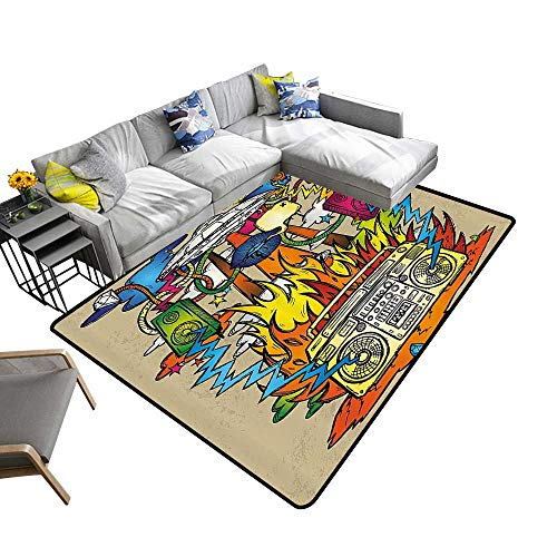 Contemporary Indoor Area Rugs Hippie Funk Trippy Objects with UFO Music Box Lips Tapes Speakers Carpet for Children Home Decorate 6' X 9'