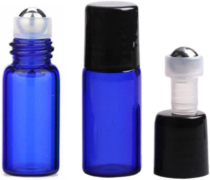 3ML botella de cristal colorido cristal rollo de 10paquetes aroma de aceites esenciales Roller Botellas cosmético Loción Líquido punta de metal tapas de botellas de cristal con negro