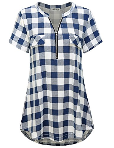 Finice Designer Tops Women's Zip V Neck Short Sleeve Tunic Tops Business Casual Plaid Polo Shirts and Blouses for Summer Wear Bright Blue XXL