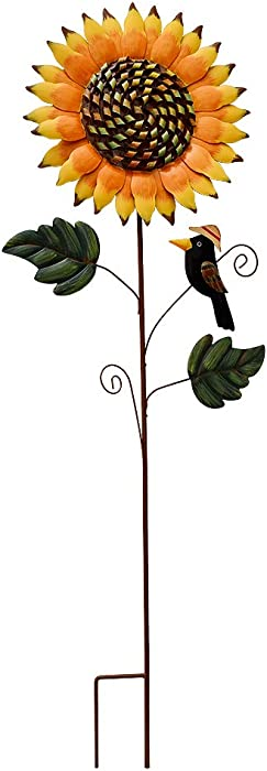 Kilipes Metal Sunflower Yard Stake with Crow Decor Flower Garden Stake Decorative Fall Stake Outdoor Decor for Patio Lawn Plant Pot (1)