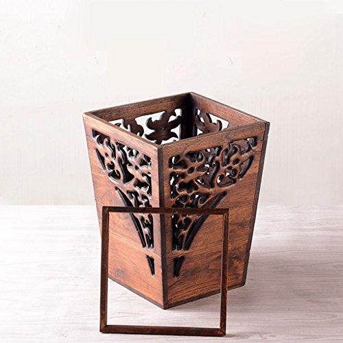 CBDGD Vintage Luxury Wood Trash Can Manual Waste Paper Basket Living Room Bedroom Trash Can 23x30x18cm Trash can (Color : ()