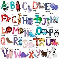 DEKOSH Baby Nursery Animal Alphabet Peel & Stick Kids Wall Decals - Colorful Educational Wall Art Classroom Stickers for Unisex Playroom, Nursery Decor
