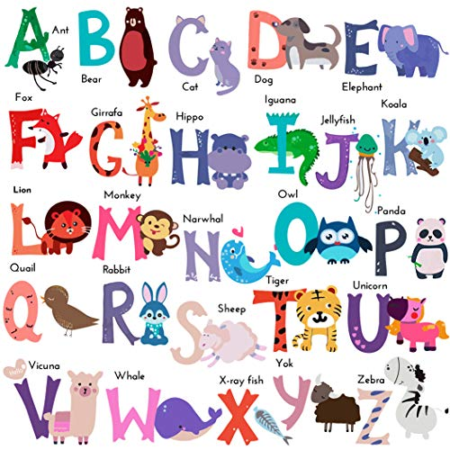 DEKOSH Baby Nursery Animal Alphabet Peel & Stick ABC Kids Wall Decals - Colorful Educational Wall Stickers for Kids Playroom, Classroom Décor
