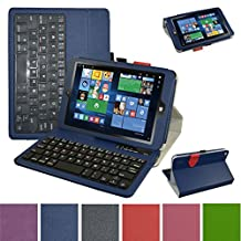 "Insignia NS-P08W7100 Bluetooth Keyboard Case,Mama Mouth Slim Stand PU Leather Case Cover With Romovable Bluetooth Keyboard For 8"" Insignia Flex NS-P08W7100 Windows 10 Tablet 2016,Blue"