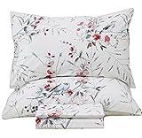 Queen's House Botanical Garden Bird Print Bed Sheets Set EGYPT Cotton Bedding Sheets and Pillowcases-Queen,J