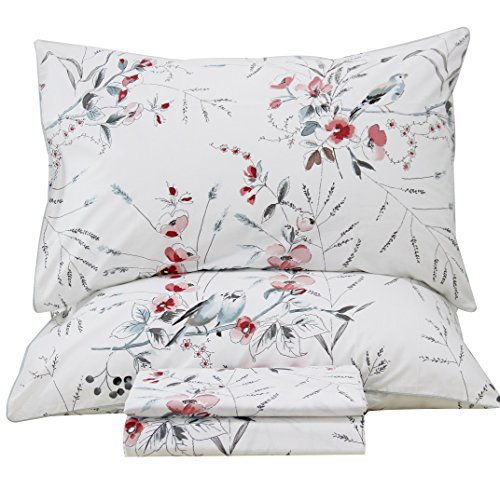 Queen's House Botanical Garden Bird Print Bed Sheets Set EGYPT Cotton Bedding Sheets and Pillowcases-Queen,J from Queen's House