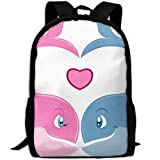ZQBAAD Valentine's Day Whales Couple Luxury Print Men And Women's Travel Knapsack