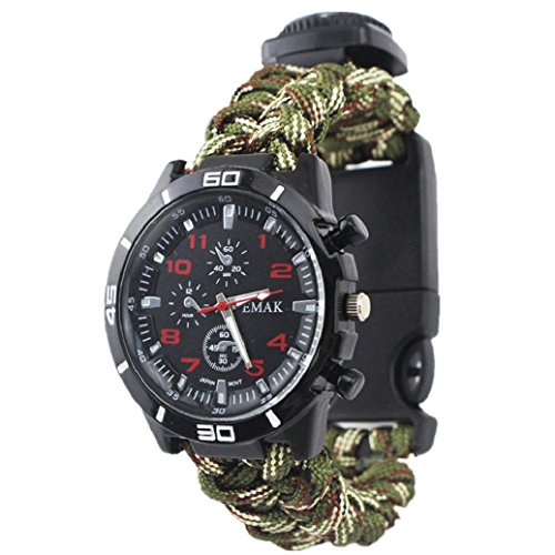 Elevin(TM)Outdoor Survival Emergency Paracord Compass Bracelets Watch Flint Fire Starter Whistle Rope Bushcraft Gear,Kit for Camping/Fishing & More (Camouflage)