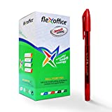 A2ZCare FlexOffice Capped Type Ballpoint Pen - FO-016 | Perfect for Everyday Use at School/Office/Home | Easy using for Taking/Marking Notes, Writing Tasks | Red (50 counts)