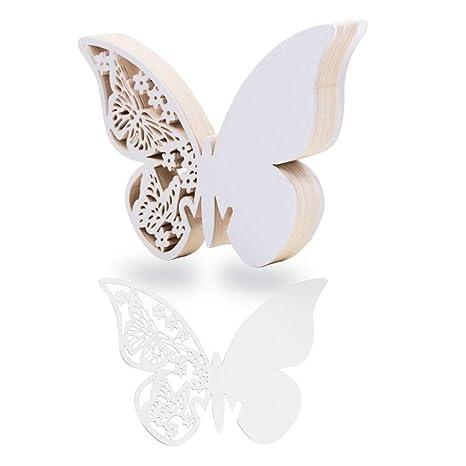 TrAdE shop Traesio SEGNAPOSTO SEGNATAVOLO Bianco A Forma di Farfalla Decorazioni  Wedding Matrimonio