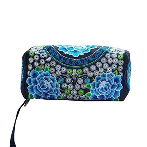 Zyupup Women Ethnic Style Embroidered Wristlet Clutch Bag Zipper Long Wallet
