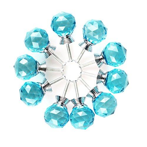 (uxcell Round Shape Crystal Glass 30mm Kitchen Cabinet Door Drawer Knob Cupboard Dresser Wardrobe Pull Handle with Screws, 10pcs Sky Blue)